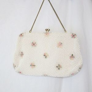 Vintage | White Beaded Clutch Purse W/ Coin Pouch